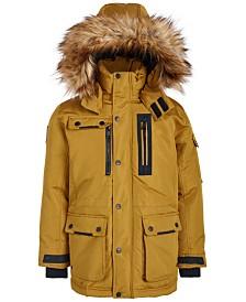 DKNY Big Boys Cargo-Pocket Parka With Faux-Fur Trim