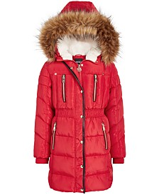 DKNY Big Girls Hooded Puffer Jacket With Faux-Fur Trim