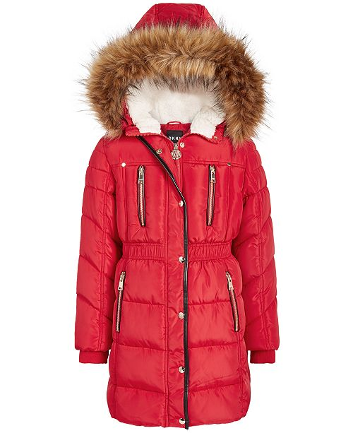 DKNY Big Girls Hooded Puffer Jacket With Faux Fur Trim
