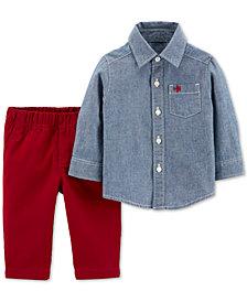 Carter's Toddler Boys 2-Pc. Cotton Chambray Button-Front & Canvas Pants Set