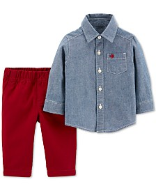 Carter's Toddler Boys 2-Pc. Cotton Chambray Button-Front & Canvas Pants Set