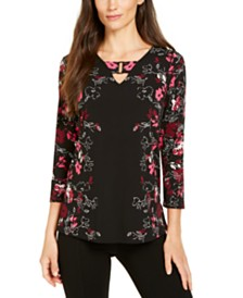 Alfani Printed Keyhole 3/4-Sleeve Top, Created for Macy's