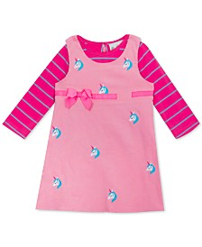 Rare Editions Baby Girls 2-Pc. Striped T-Shirt & Embroidered Unicorn Jumper Set
