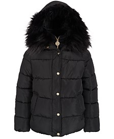 DKNY Big Girls Hooded Puffer Jacket With Bib & Faux-Fur Trim