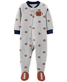 Baby Boys 1-Pc. Fleece Footed Football Pajama