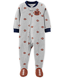 Carter's Baby Boys 1-Pc. Fleece Footed Football Pajama