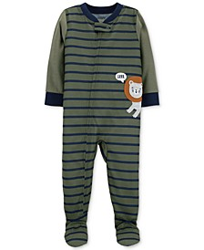 Toddler Boys Striped Footed Lion Pajamas