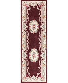 "CLOSEOUT!  Palace Garden Aubusson Burgundy 2'6"" x 8' Runner Area Rug"