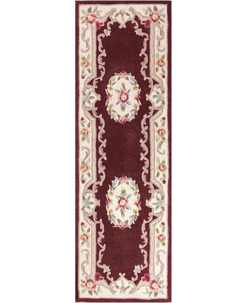 """KM Home CLOSEOUT!  Palace Garden Aubusson Burgundy 2'6"""" x 8' Runner Area Rug"""