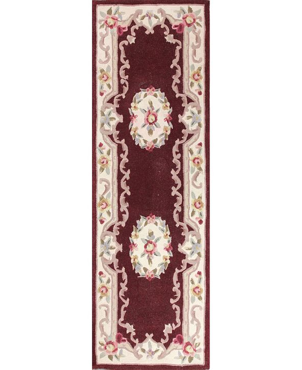 "KM Home CLOSEOUT!  Palace Garden Aubusson Burgundy 2'6"" x 8' Runner Area Rug"