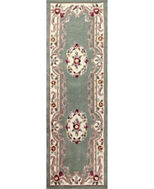"CLOSEOUT!  Palace Garden Aubusson Sage 2'6"" x 8' Runner Area Rug"