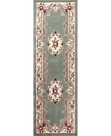 """KM Home Palace Garden Aubusson Sage 2'6"""" x 8' Runner Area Rug"""