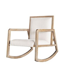 Wooden Rocking Chair with Linen Seat