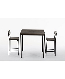 Americano Collection 3 Piece Bar Height Dining Set, Table and 2 Barstools