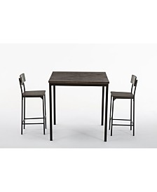 Boraam Americano Collection 3 Piece Bar Height Dining Set, Table and 2 Barstools