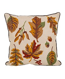 Glitzhome Fall Embroidered Leaves Throw Pillow