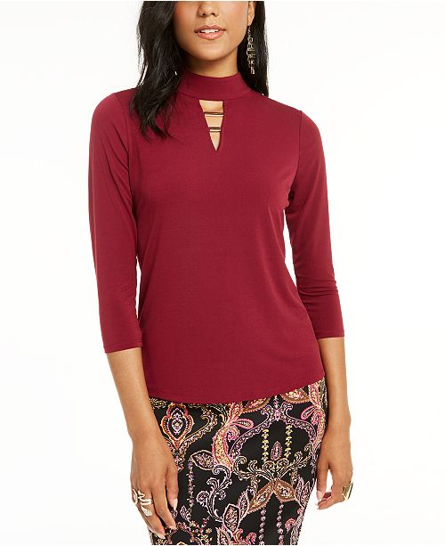 Thalia Sodi Hardware-Trim Mock-Neck Top, Created for Macy's