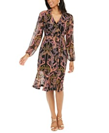 Thalia Sodi Printed Surplice Peasant Dress, Created for Macy's
