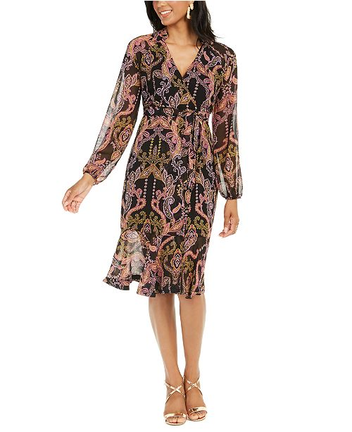 Thalia Sodi Printed Surplice Peasant Dress, Created for Macy's