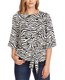Vince Camuto Zebra Printed Tie-Front Top