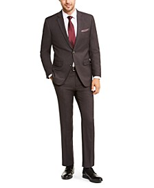 Men's Slim-Fit Stretch Charcoal Sharkskin Suit