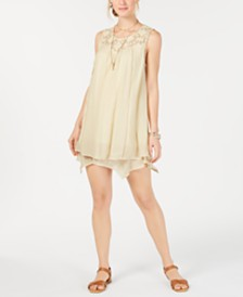 Style & Co Petite Lace-Yoke Handkerchief-Hem A-Line Dress, Created for Macy's
