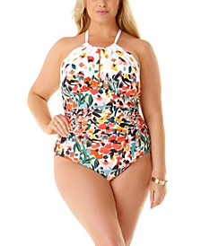 Plus Size Sunset Floral Printed Halter One-Piece Swimsuit