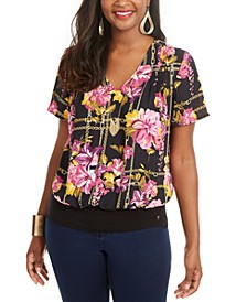 Printed Pintuck-Pleated Top, Created for Macy's