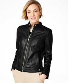 Cole Haan Petite Snap-Neck Leather Moto Jacket