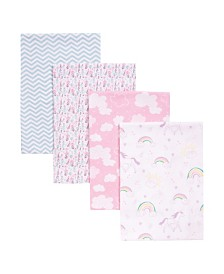 Trend Lab Unicorn Rainbow 4 Pack Flannel Receiving Blankets