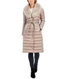 Tahari Belted Faux-Fur-Collar Down Puffer Coat