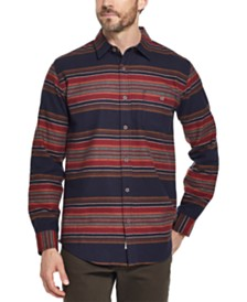 Weatherproof Vintage Men's Brushed Striped Flannel Shirt