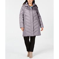 Deals on Kenneth Cole Plus Size Faux-Fur-Trim Hooded Puffer Coat
