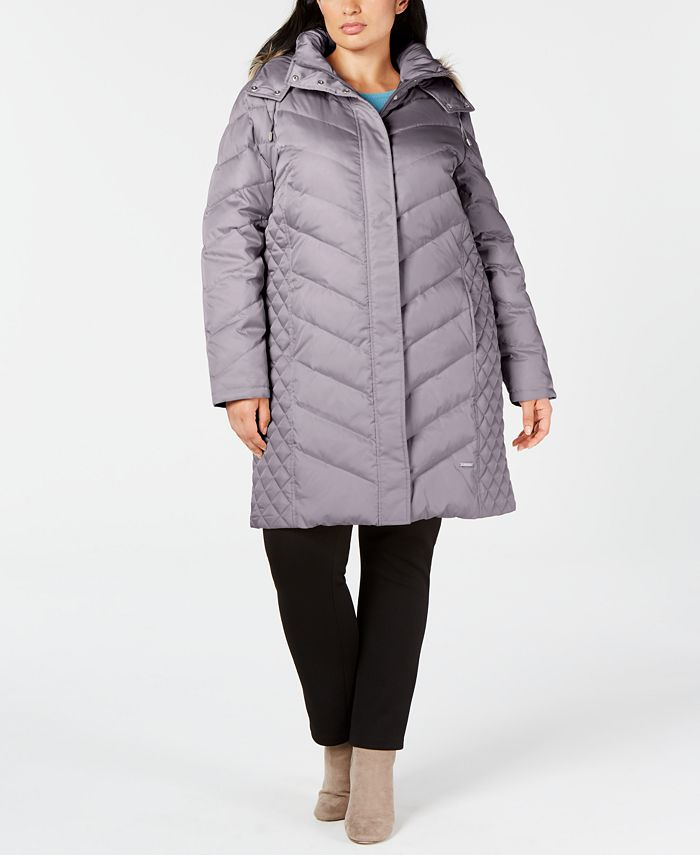 Kenneth Cole - Plus Size Faux-Fur-Trim Hooded Puffer Coat
