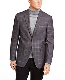 Men's Slim-Fit Stretch Gray Windowpane Sport Coat