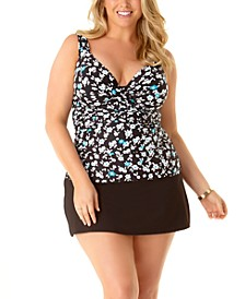 Plus Size Beautiful Bunches Printed Twist-Front Underwire Tankini Top & Swim Skirt