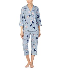 Cotton Knit Floral-Print Capri Pajama Set