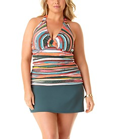 Plus Size Sand Stripe Printed Underwire Tankini Top & Swim Skirt