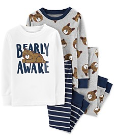 Carter's Toddler Boys 4-Pc. Cotton Bearly Awake Pajamas Set