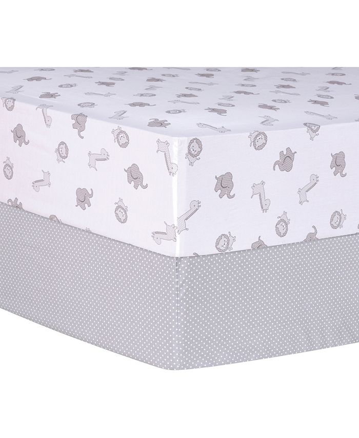 Trend Lab - Gray Safari and Dot 2 Pack Fitted Crib Sheets