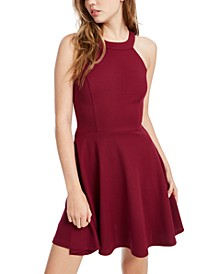 Juniors' Cutout Bow Back Fit & Flare Dress, Created for Macy's
