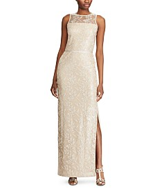 Lauren Ralph Lauren Lace-Yoke Gown