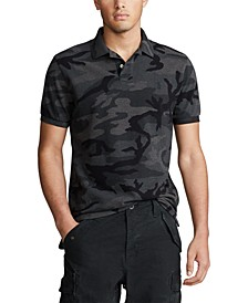 Men's Basic Mesh Camo Knit Classic Fit Polo Shirt