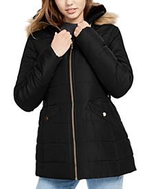 Juniors' Faux-Fur Trim Hooded Puffer Coat