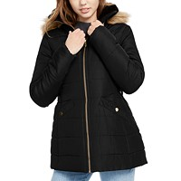 Celebrity Pink Juniors' Faux-Fur Trim Hooded Puffer Coat (various colors)