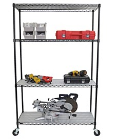 4-Tier Wire Shelving Rack with NSF Includes Wheels and Liners