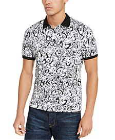 Men's Tiger Crowd Graphic Pique Polo Shirt