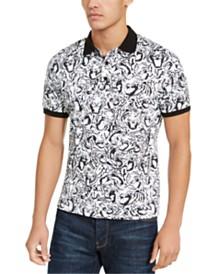 Just Cavalli Men's Tiger Crowd Graphic Pique Polo Shirt