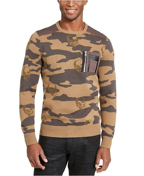 INC International Concepts I.N.C Men's Alissa Camo Sweater, Created For Macy's