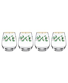 Holiday Set of 4 Stemless Wine